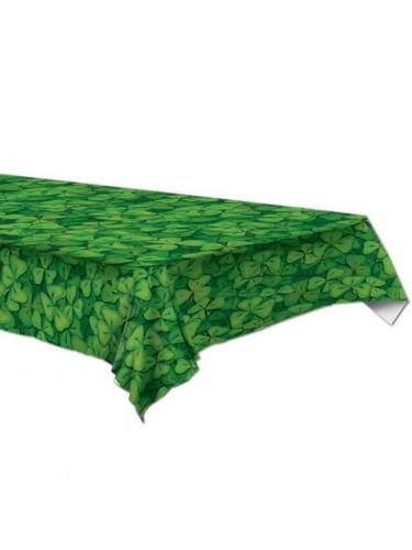 Nappe en plastique verte avec trèfles 137 x 274 cm