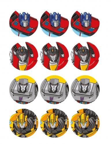 12 Décorations en sucre pour biscuits Transformers™ 5,8 cm