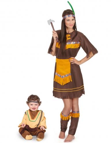 Déguisement de couple indien marron mère et fils