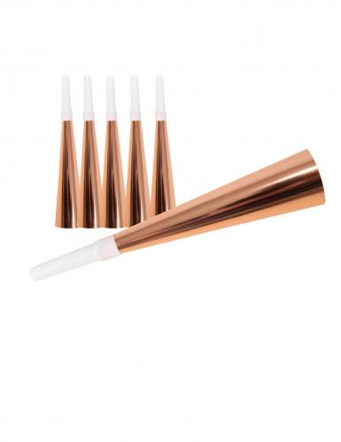 6 Trompettes en carton rose gold 19 cm
