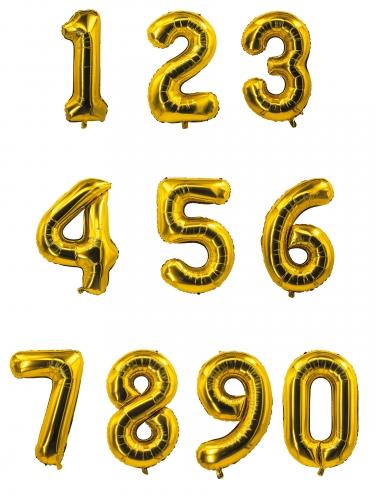 Ballon aluminium chiffre doré 85 cm-1