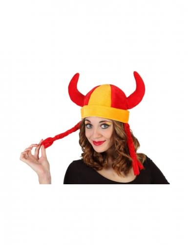 Chapeau avec nattes supporter Espagne adulte
