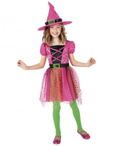 Déguisement tutu sorcière rose avec chapeau fille
