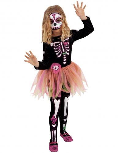 Déguisement Miss Dia de los Muertos avec masque et collants fille