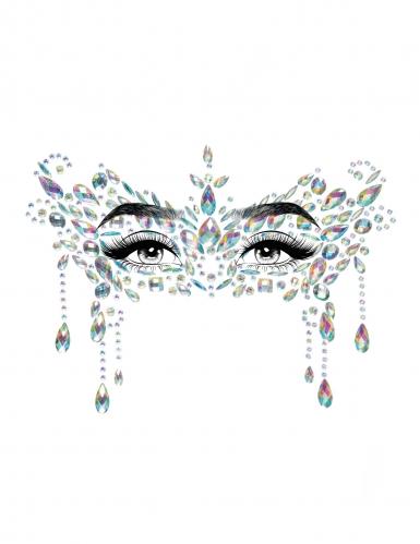 Bijoux pour visage adhésifs loup blanc-1