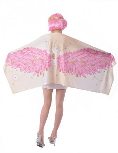 Déguisement Ailes d'ange poncho rose femme-1