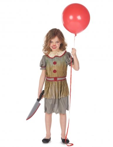 Déguisement clown terrifiant gris fille