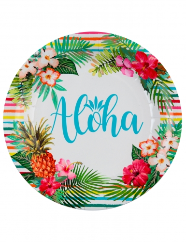 10 Assiettes carton Aloha 22,5 cm