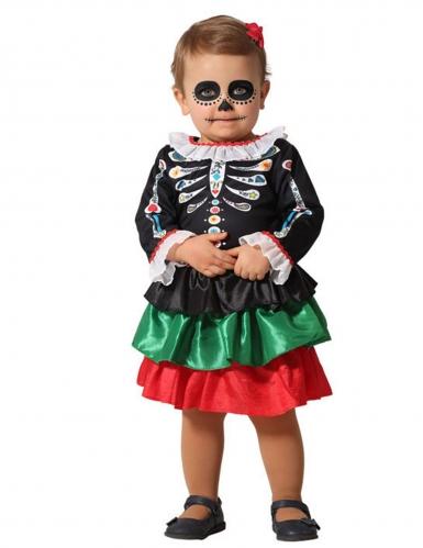 Déguisement squelette Dia de los muertos bébé fille