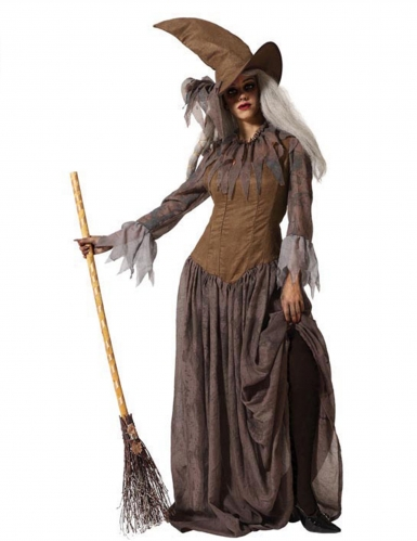Déguisement avec chapeau sorcière marron femme