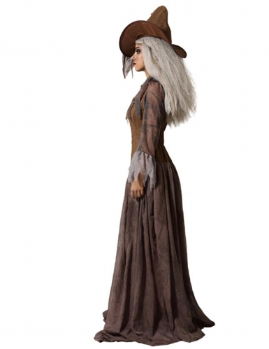 Déguisement avec chapeau sorcière marron femme-1
