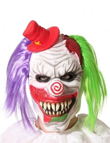 Masque clown aux cheveux bicolore adulte