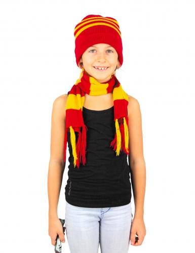 Bonnet et écharpe rayé en tricot enfant