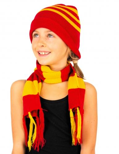 Bonnet et écharpe rayé en tricot enfant-1