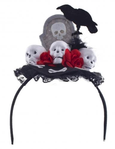 Serre-tête corbeau Dia de los muertos femme