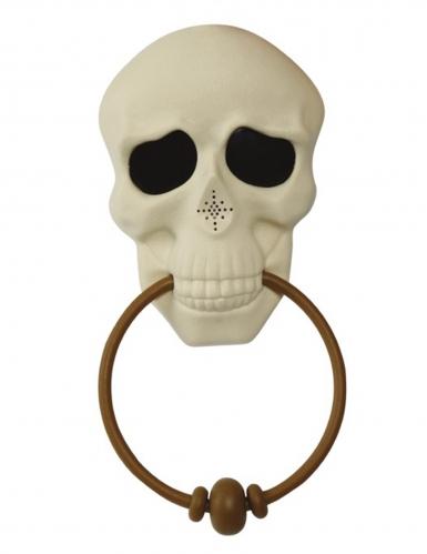 Décoration de porte sonore et animée squelette 30 cm