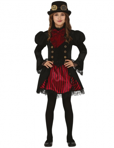 Déguisement Steampunk rouge glamour fille