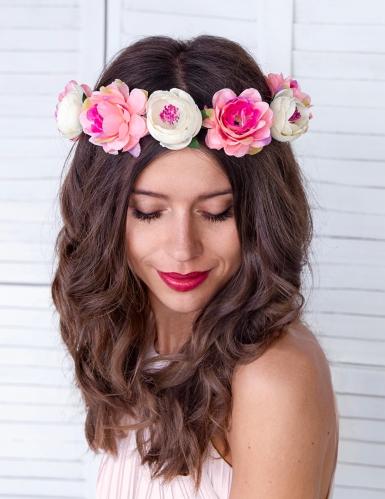 Couronne de fleurs roses 17 cm-1