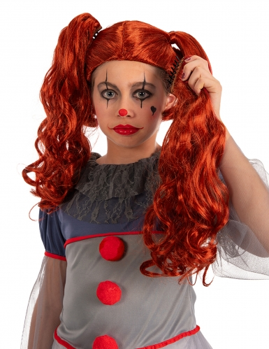 Perruque clown à couette fille