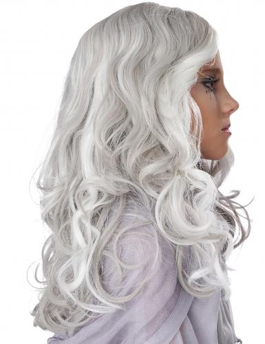 Perruque longue grise phosphorescente enfant-1