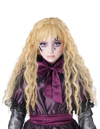 Perruque longue ondulée blonde enfant-1