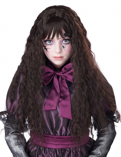 Perruque longue ondulée brune enfant