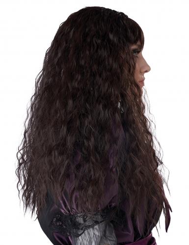 Perruque longue ondulée brune enfant-1