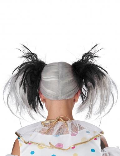 Perruque couettes noire et blanc phosphorescente enfant-3