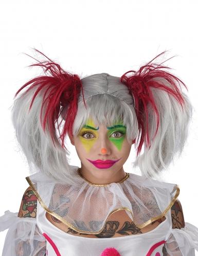 Perruque couettes rouge et blanc phosphorescente enfant-2