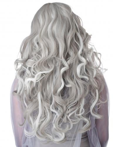 Perruque longue grise phosphorescente femme-2