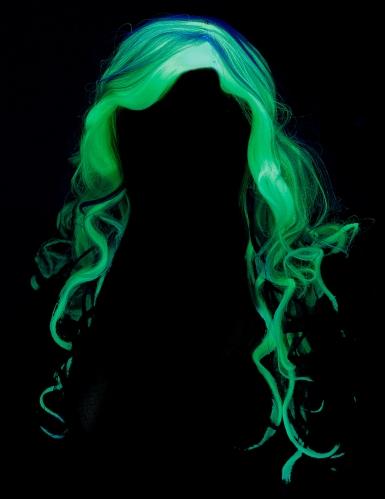 Perruque longue grise phosphorescente femme-3