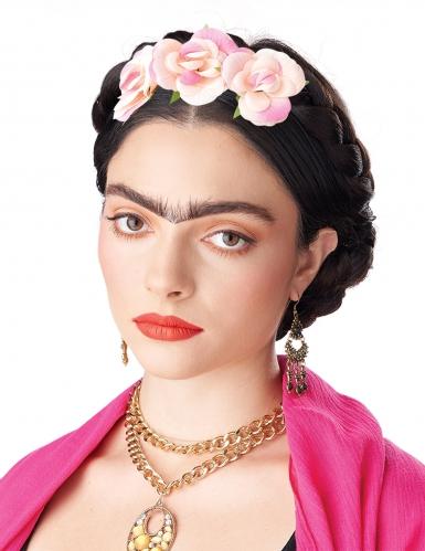 Perruque tresses enroulées avec fleurs femme-1
