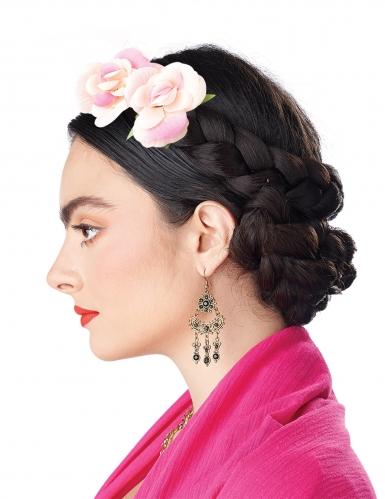 Perruque tresses enroulées avec fleurs femme-2