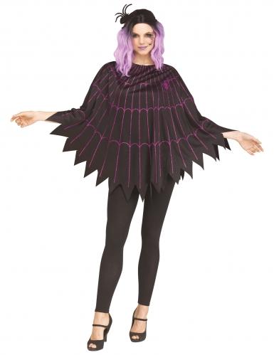 Poncho toile d'araignée violet femme
