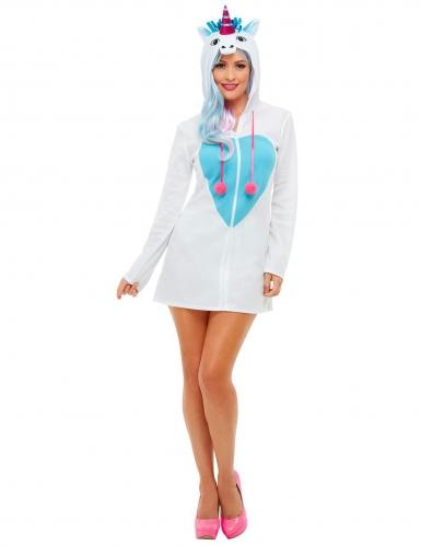 Déguisement robe à capuche licorne femme-1