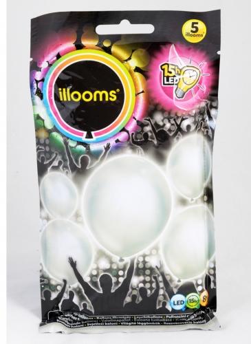 5 Ballons LED argentés Illooms®-1