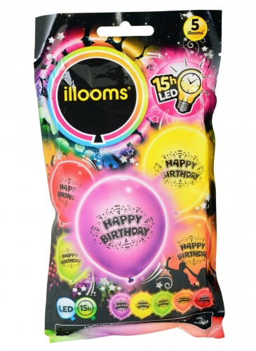 5 Ballons LED Happy Birthday Illooms®