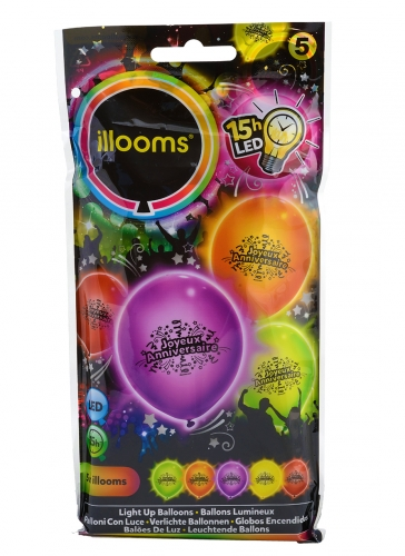5 Ballons LED Joyeux anniversaire Illooms®