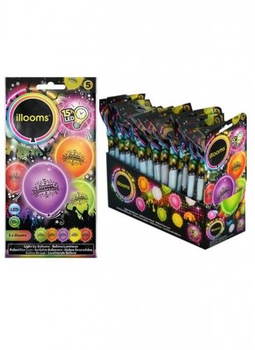 5 Ballons LED Joyeux anniversaire Illooms®-1