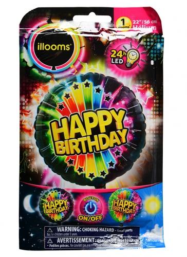 Ballon aluminium Happy Birthday LED Illooms® 50 cm