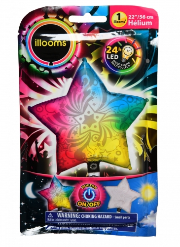 Ballon aluminium étoile multicolore LED Illooms® 50 cm