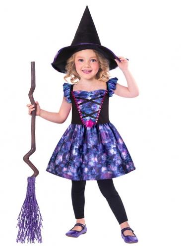 Déguisement petite sorcière en tissu recyclé fille
