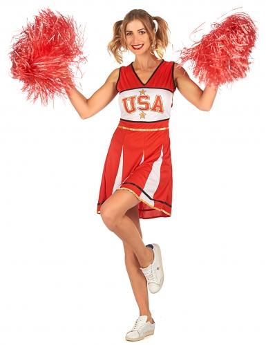 Déguisement pompom girl USA rouge femme-1