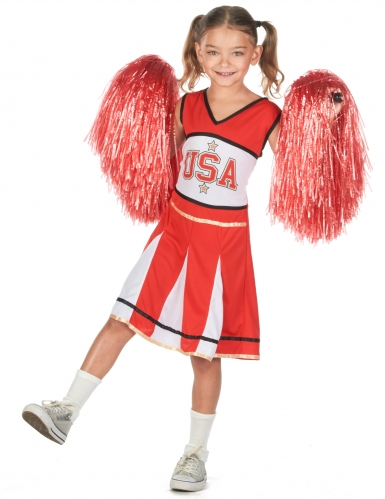 Déguisement pompom girl USA rouge fille