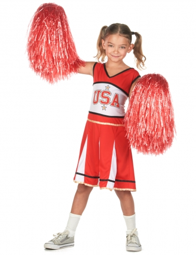 Déguisement pompom girl USA rouge fille-1