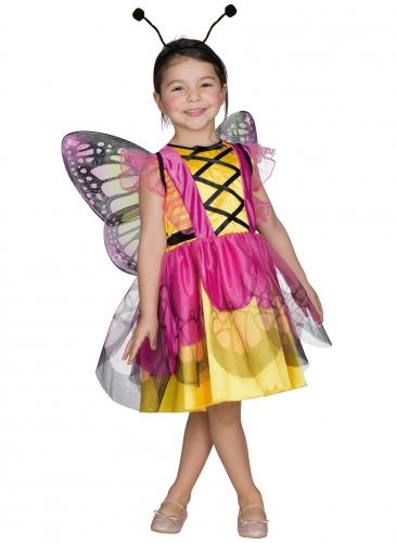 Déguisement papillon rose et jaune fille