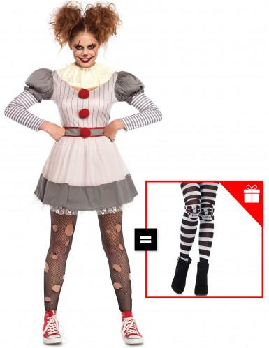 Déguisement creepy clown femme avec collants offerts