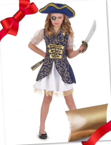 Coffret cadeau déguisement pirate bleu avec accessoires fille
