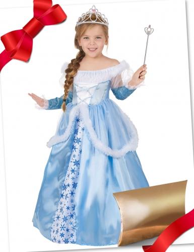 Coffret cadeau déguisement princesse bleu avec accessoires fille