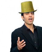 Chapeau haut de forme or adulte
